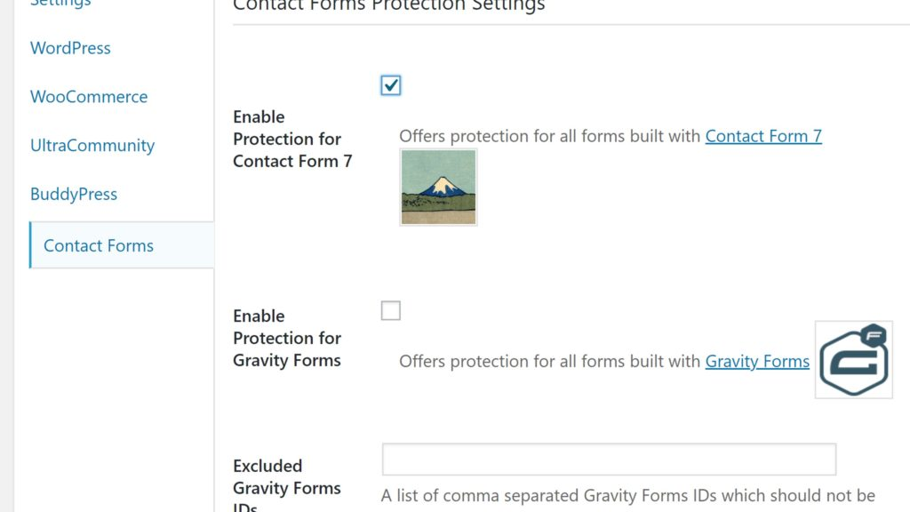 「Enable Protection for Contact Form 7」にチェックします